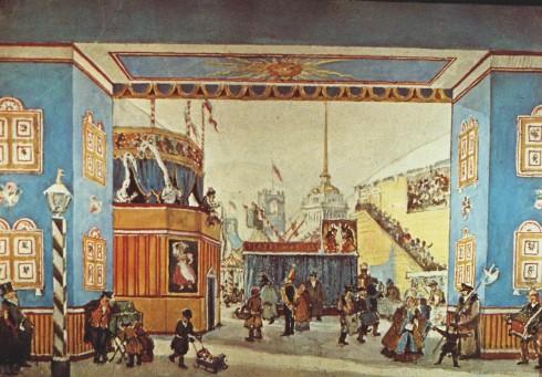 Boceto para el primer cuadro de Petruchka por Benois