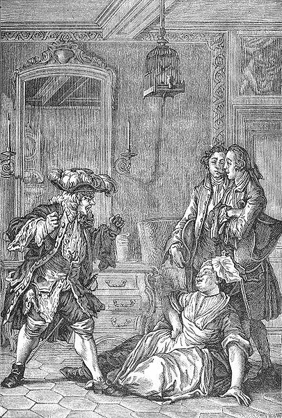 Grabado de Jean-Michel Moreau donde se muestra a Monsieur Jourdain y a Nicolasa