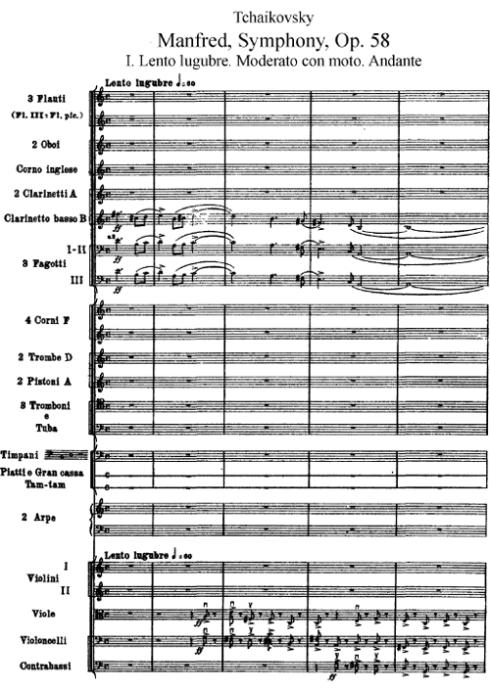 Primera página de la partitura de la Sinfonía Manfredo