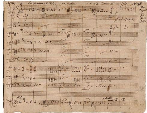 Primera página del manuscrito de la Obertura a La clemencia de Tito de Mozart