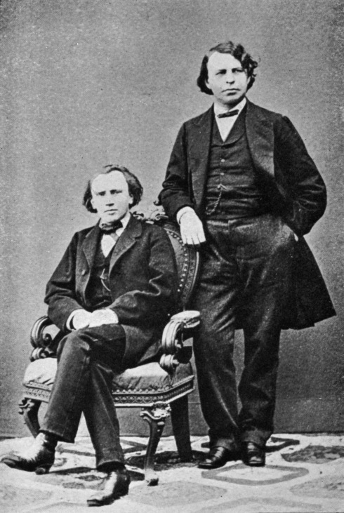 Johannes Brahms, German composer with Joseph Joachim, Hungarian (Germanized) violinist, composer and conductor, portrait.
